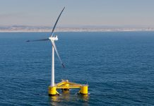 A floating wnd turbine off Aqucadoura, Portugal.