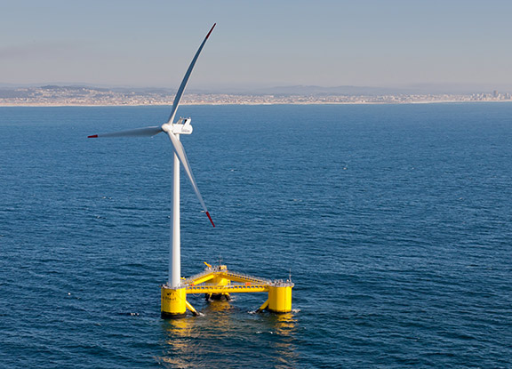 A floating offshore WindFloat (wind turbine) operating at rated capacity (2MW) located approximately 5km off Aqucadoura, Portugal.<br /> Photo: Untrakdrover, Wikimedia CC.
