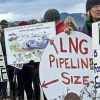 Protesters gather to oppose the Jordan Cove LNG export terminal and pipeline. Photo: Rogue Climate.