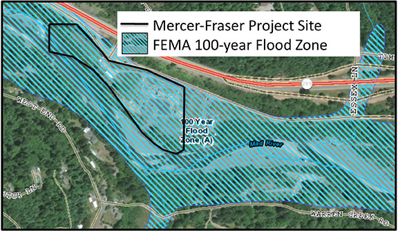 The site of Mercer-Fraser's proposed cannabis extraction facility is in the Mad River floodplain along Highway 299 between Blue Lake and McKinleyville. Base map from Humboldt County Web GIS (http://webgis.co.humboldt.ca.us).