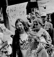 Julian Lange at a NO-GO Road Protest. Photo: Native American Studies Graduate Student Symposium.