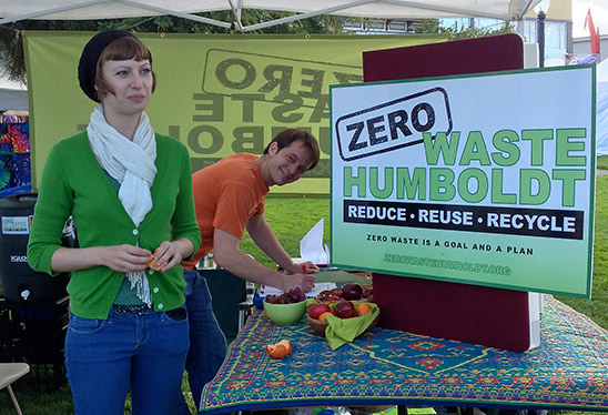 Volunteers at the Zero Waste Humboldt booth at the North Country Fair. Photo courtesy of Zero Waste Humboldt.