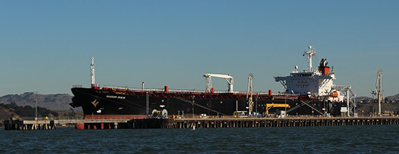 An oil tanker berthed at the Phillips 66 marine terminal in Rodeo, CA. Photo: Gary Graham Hughes.