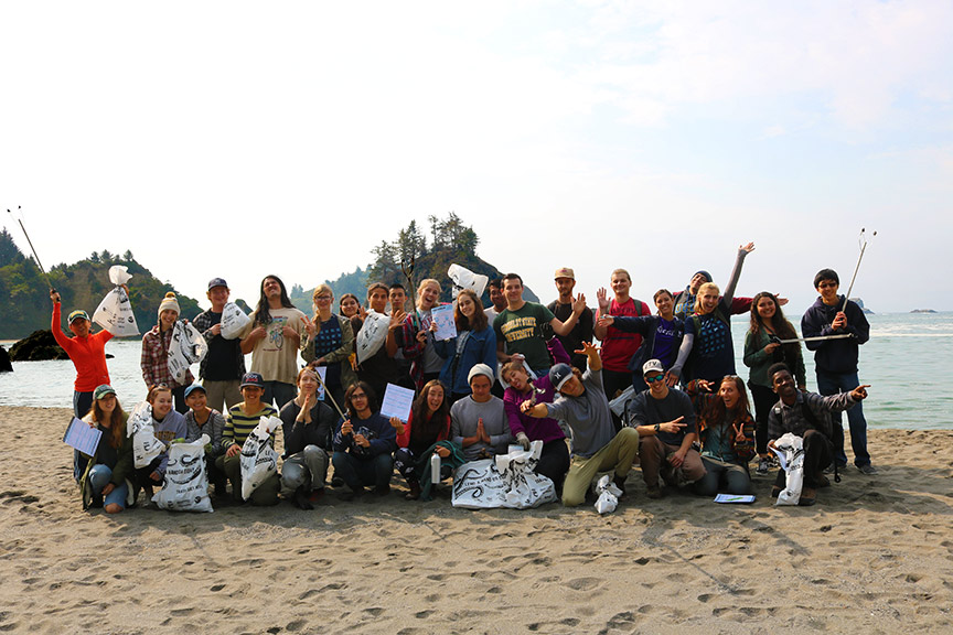 The HSU Natural Resources Club on Coastal Cleanup Day 2017.