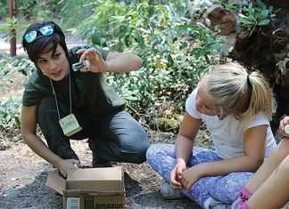 Jemma teaching kids about macroinvertebrates at Bothe Nature Camp (Napa Resource Conservation District). Photo courtesy of Jemma Williams.