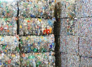 Bales of plastic and aluminum recyclables at Recology's Recycle Central Materials Recovery Facility (MRF) at Pier 96, San Francisco. Photo: Walter Parenteau, Flickr CC.