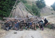 Forest defenders block a logging road to protest HRC's old growth logging in the Mattole. Photo: Save the Mattole.