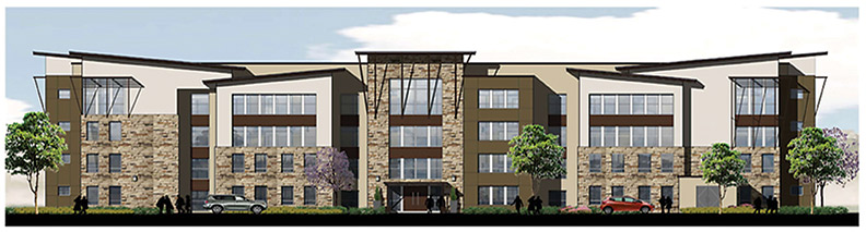 Rendering of the Village project by AMCAL developers. More renderings and information available at https://www.amcalhousing.com/amcal/the-village-arcata.