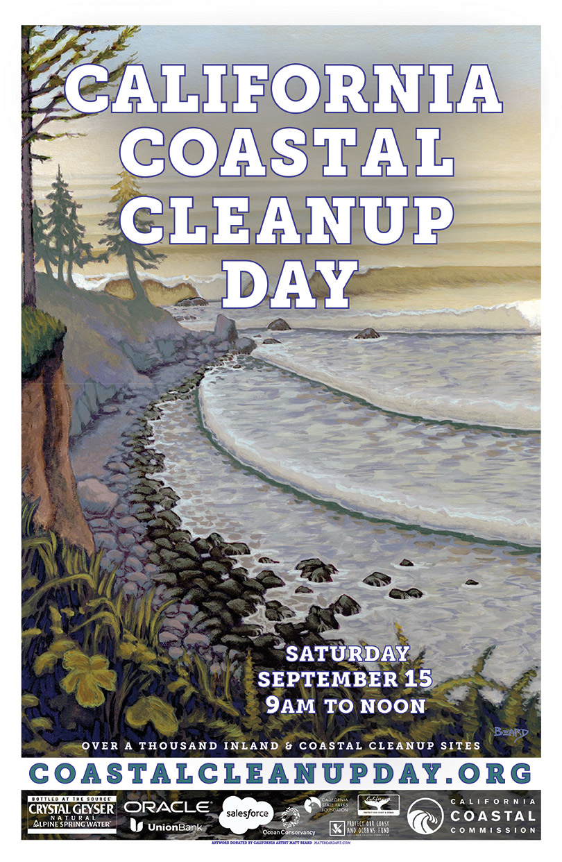 Official poster for the 2018 Coastal Cleanup Day, featuring art by local artist Matt Beard.