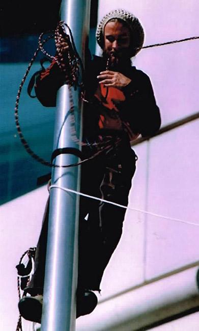 David Gypsy Chain climbing a flagpole. Photo: Cindy Allsbrooks.