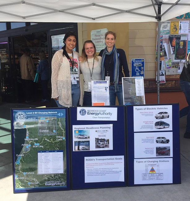 Gabriela Lara, Aisha Cissna,, and Heather Kenny are all smiles as they talk about electric vehicles at the 2018 Eureka Natural Foods Earth Day Celebration. Photo courtesy of Aisha Cissna.