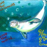 Painting of Hawaiian monk seal for the 2017 Endangered Art Show, by Kathleen Aguilar.