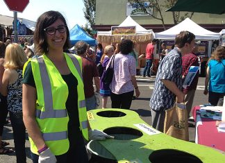 Arcata Mayor Sofia Pereira volunteered for Zero Waste at the North Country Fair, 2017. Photo courtesy of Zero Waste Humboldt.