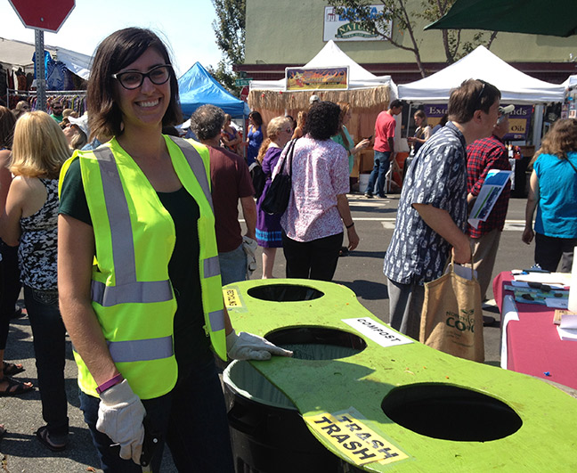 Arcata Mayor Sofia Pereira volunteered for Zero Waste at the North Country Fair, 2017. Photo courtesy of Zero Waste Humboldt.