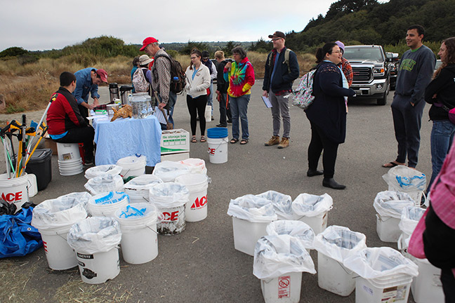 Preparing to clean up Clam Beach on Coastal Cleanup Day. Photo: Megan Bunday.