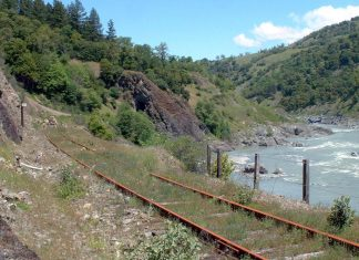 Northwest Pacific Rail alongside the mainstem Eel River. Credit Scott Greacen/Friends of the Eel River