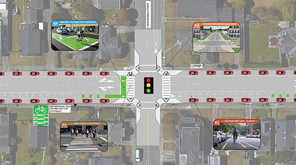 Potential I Street redesign detail produced by the City of Eureka.