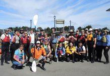 Baykeeper's Tours Coordinator, Jasmin Segura (front left) with Coastal Cleanup Day volunteers at the Humboldt Bay Aquatic Center Photos: Jen Kalt.