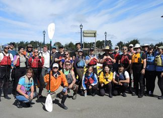 Baykeeper's Tours Coordinator, Jasmin Segura (front left) with Coastal Cleanup Day volunteers at the Humboldt Bay Aquatic Center Photos: Jen Kalt.