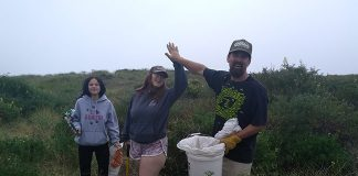 Jeff, Kaylee and Emily Cook have fun cleaning up Samoa Beach during a Plastic Free July cleanup with the NEC. Photo: Sarai Lucarelli.