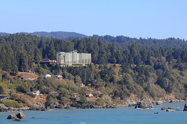 This digitally-edited image offers an idea of the visual impact the current hotel proposal would have on the viewshed of the Trinidad Bay shoreline. The photo of the Hyatt Hotel was provided in the Trinidad Rancheria's Environmental Assessment (EA) of the project. Coast photo by Dave Hankin. Photo-illustration by Tim Sheppard.