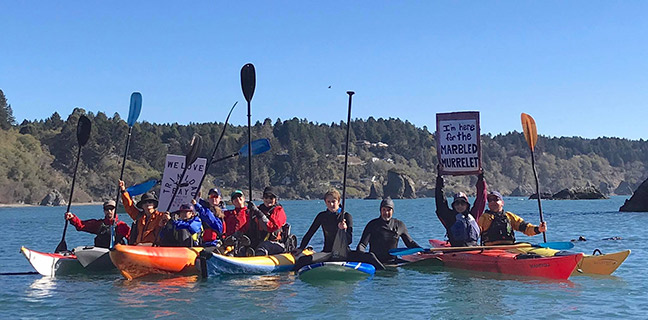 Kayakers and long-boarders turned on out November 11 for the We Love Trinidad Bay Paddle-Out, a paddle protest of the Trinidad Rancheria's hotel proposals, which organizer Jason Self of Kayak Trinidad points out would ruin the very scenery that tourists come to the area to enjoy. In this photo, Cher-ae Heights Casino, where the hotel would be built, is directly behind the paddleboarder in the middle. Photo by Lisa Wilhelmi Perkins.