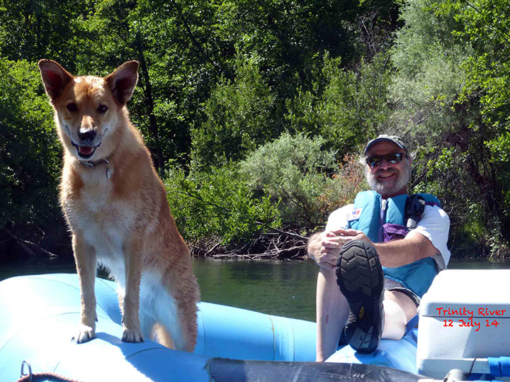 Bob Morris on the Trinity River with Kona, July 2014. Photo: Robert Radke.