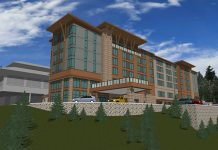 An artistic rendering of the proposed hotel project at Cher-Ae Heights Casino off Scenic Drive south of Trinidad, as submitted to the North Coast Journal.
