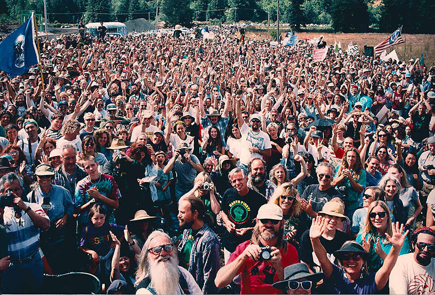 Thousands of activists at the Rally for Headwaters in Carlotta, 1996. Photo courtesy of Greg King.