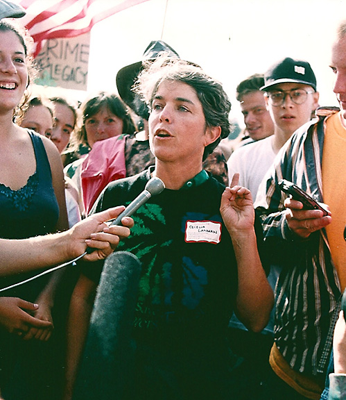 Cecilia Lanman before arrest Carlotta Rally, 1996.  Photo courtesy of Greg King.