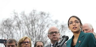 Freshman Congresswoman Alexandia Ocasio-Cortez (D-NY, 14th District) speaking about the Green New Deal alongside Senator Ed Markey (D-MA) and others in front of the Capitol Building on February 7, 2019. Photo: Wikimedia Commons.