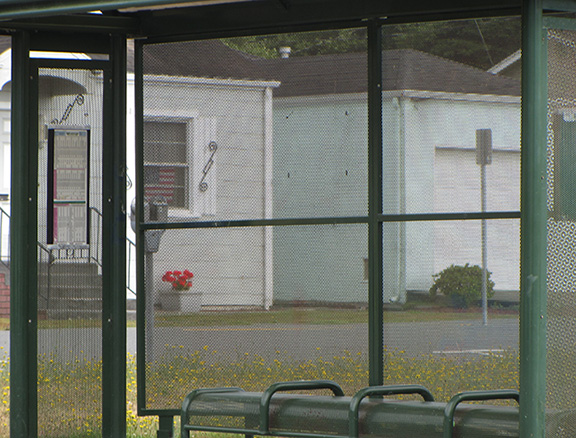 A covered bus stop near the HSU campus in Arcata. About one quarter of households in the area around HSU do not have a car. Photo: CRTP.