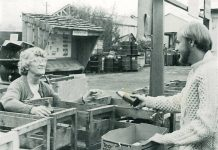 Volunteers help sort recycling at the Arcata Community Recycling Center (ACRC) in the '70s. Photo from the ACRC Facebook page.