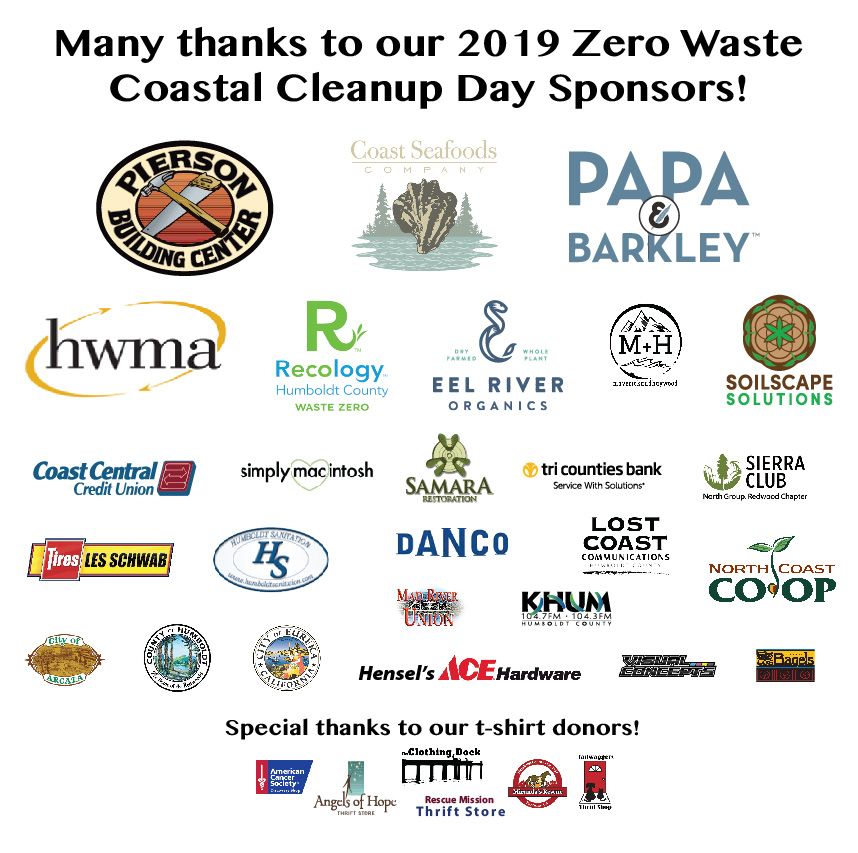 Graphic of 2019 Coastal Cleanud Day sponsor logos
