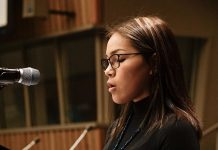 Right: Autumn Peltier, 15, Chief Water Commissioner for the Anishinabek Nation. Photo: Global Landscapes Forum, Flickr CC.