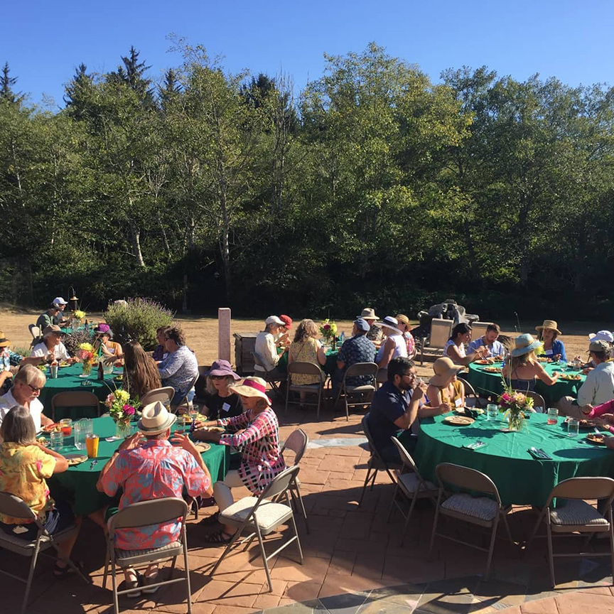 Attendees enjoy dinner outdoors during the NEC's summer patio party.